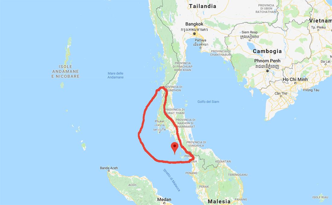 Cartina monsone estivo Mar delle Andamane